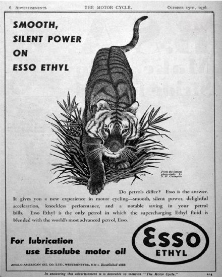 Esso Ethyl Smooth Silent Power On ESSO Ethyl - Metal Advertising Wall Sign - Retro Art